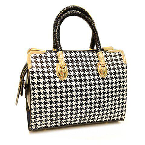 Fancy Stylish Houndstooth and Metallic Design Women's Tote Bag