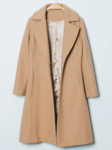 Fancy Fashionable Turn-Down Collar Solid Color Slimming Long Sleeve Coat For Women