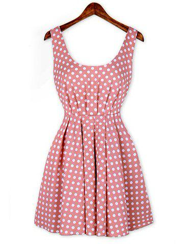 Outfits Sexy Shoulder Straps Backless Polka Dot Print Pleated Dress For Women