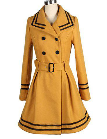 Chic Vintage Turn-Down Collar Color Block Double-Breasted Long Sleeve Coat For Women