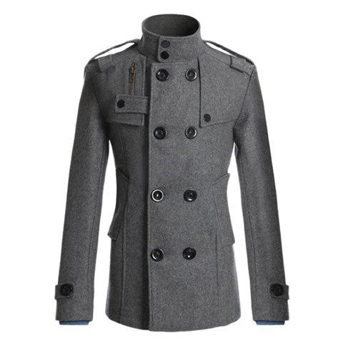 Hot Korean Style Turndown Collar Solid Color Double-Breasted Long Sleeves Men's Polyester Trench Coat