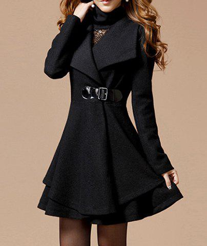 Solid Color Noble Style Worsted Turn-Down Collar Long Sleeves Womens CoatWOMEN<br><br>Size: M; Color: BLACK; Clothes Type: Wool &amp; Blends; Material: Polyester; Fabric Type: Worsted; Type: Skirt; Shirt Length: Long; Sleeve Length: Full; Collar: Turn-down Collar; Pattern Type: Solid; Embellishment: Button; Style: Fashion; Weight: 1.010kg; Package Contents: 1 x Coat;