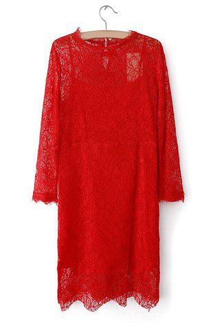 Hot Simple Round Collar Solid Color Hook Flower Long Sleeves Lace Dress For Women