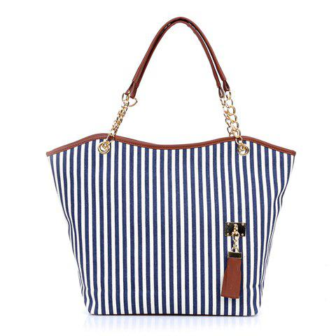 Womens Lady Street Snap Tote Bag Canvas HandbagSHOES &amp; BAGS<br><br>Color: BLUE; Handbag Type: Shoulder bag; Style: Fashion; Gender: For Women; Embellishment: Tassel; Pattern Type: Striped; Handbag Size: Medium(30-50cm); Closure Type: Zipper; Interior: Interior Zipper Pocket; Occasion: Party; Main Material: Canvas; Hardness: Hard; Weight: 0.2610kg; Size(CM)(L*W*H): 45*9*30; Strap Length: 30CM; Package Contents: 1 x Shoulder Bag;