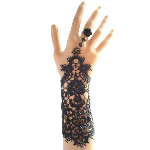 Store Chic Openwork Lace Flower Beads Bracelet With Ring For Women
