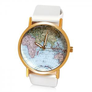 Map Patterned Watch with Round Dial and Leather Watch Band for Women - White
