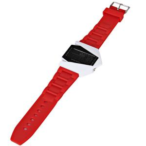30M Waterproof Rubber Band 7-colors LED Watch with Numbers Hour Marks Bomber Shaped - RED