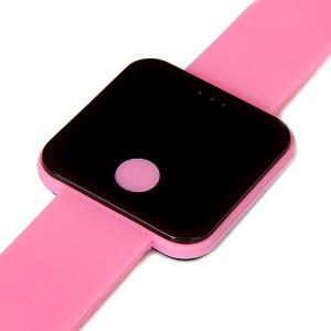 Waterproof Rubber Band Red LED Watch with Number Hour Marks Square Shaped -