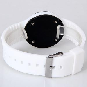 Waterproof Rubber Band Red LED Watch with Number Hour Marks Round Shaped - WHITE