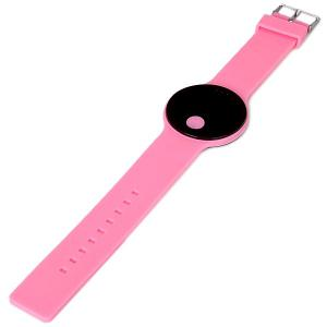 Waterproof Rubber Band Red LED Watch with Number Hour Marks Round Shaped -