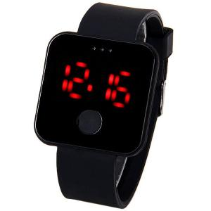 Waterproof Rubber Band Red LED Watch with Number Hour Marks Square Shaped