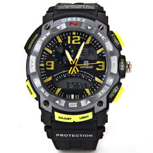 Waterproof Rubber Band Double Movt Watches with Red Light Numbers and Trapezoids Hour Marks Round Shaped - CYAN