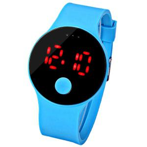 Waterproof Rubber Band Red LED Watch with Number Hour Marks Round Shaped - Blue