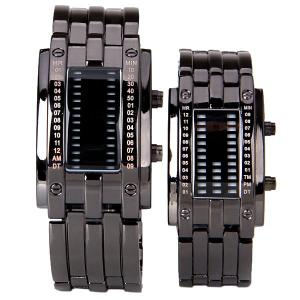 Valentine Waterproof Watch with Blue Light Time-Date Indicate Steel Watchband for Couple - BLACK