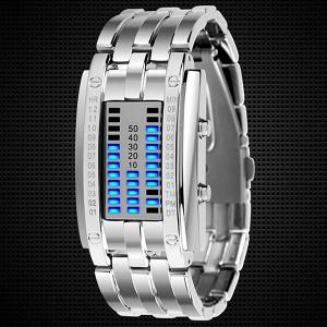 Valentine Waterproof Watch with Blue Light Time-Date Indicate Steel Watchband for Couple -