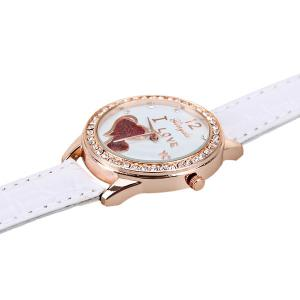 Quartz Watch with Small Diamond Dots Indicate Leather Watch Band Hearts Pattern Dial for Women - WHITE