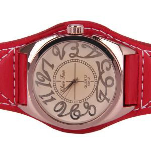 Quartz Watch with 12 Arabic Numbers Indicate Big Round Dial and Leather Watchband for Unisex -