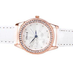 Quartz Watch with Diamonds Dots Hour Marks Rose Patterned Round Dial and Leather Band for Women -
