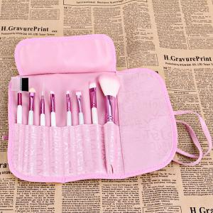 8PCS High-end Brush Sets Soft Cosmetic Face Powder Make-up Brush with English Letters Pattern Bag -