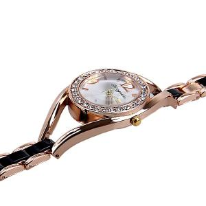 Quartz Watch Analog Indicate Diamonds Round Dial with Steel Watchband for Women -