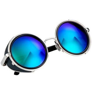 Cool Round Design Sunglasses with PC Lens and Comfortable High-nickel Alloy Frame - BLUE