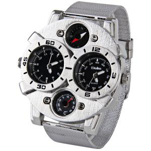 Oulm Double Japan Movt Watch with Analog Indicate and Steel Mesh Strap Watchband for Men - BLACK