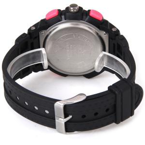 Waterproof Rubber Band Double Movt Watches with Red Light Numbers and Trapezoids Hour Marks Round Shaped -