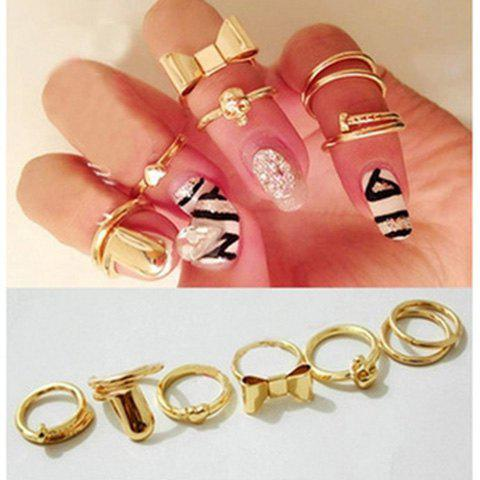 7PCS of Heart Bowknot Skull Round Nail Shape Knuckle Rings - AS THE PICTURE ONE SIZE