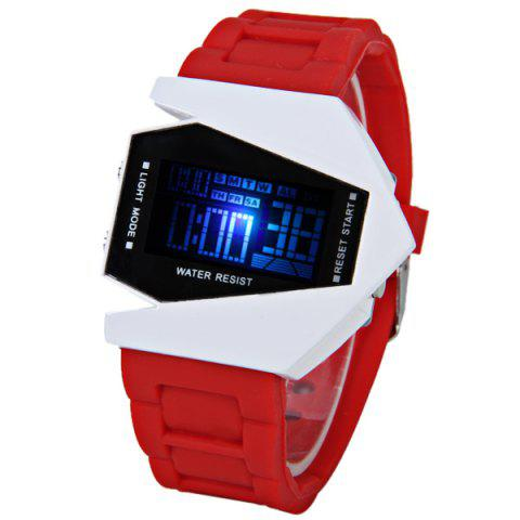 Online 30M Waterproof Rubber Band 7-colors LED Watch with Numbers Hour Marks Bomber Shaped