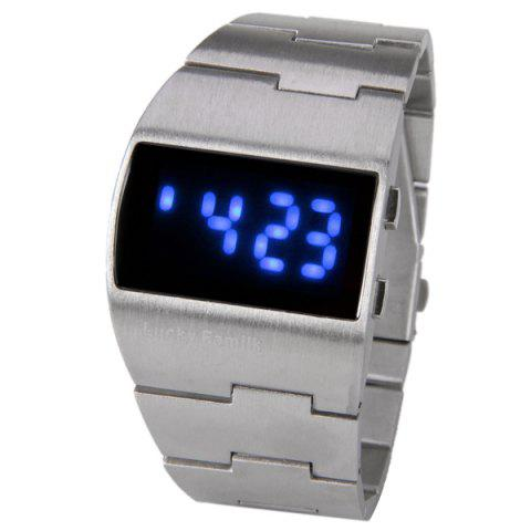 Fancy Brushed and Matte Steel Band LED Watch with Numbers Hour Marks Special Shaped