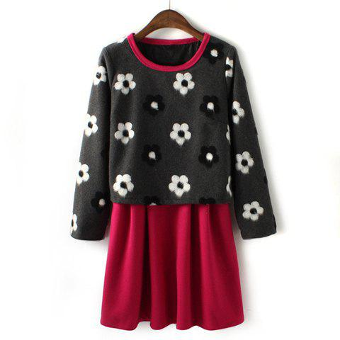 Trendy Sweet Round Collar Faux Twinset Floral Print Color Splicing Long Sleeves Dress For Women