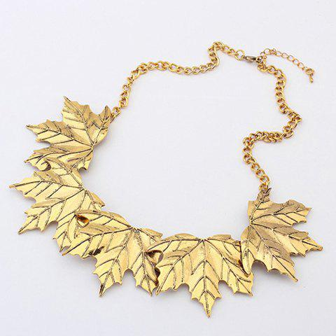 Vintage Characteristic Maple Leaf Shape Alloy Necklace For Women - GOLD