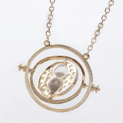 Affordable Time Turner and Hourglass Pendant Necklace AS THE PICTURE