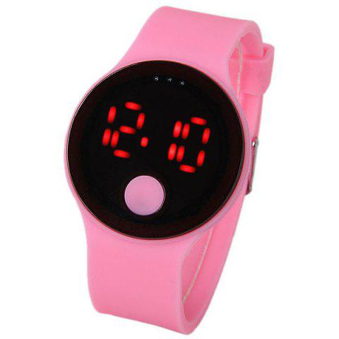 Affordable Waterproof Rubber Band Red LED Watch with Number Hour Marks Round Shaped