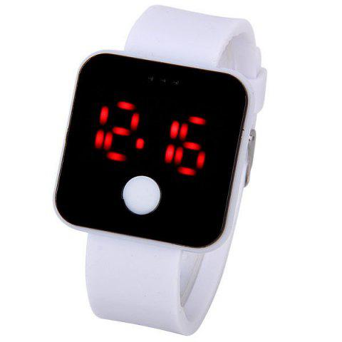 Outfits Waterproof Rubber Band Red LED Watch with Number Hour Marks Square Shaped