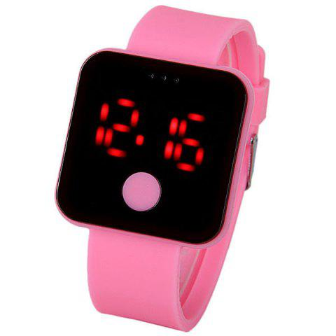 Fancy Waterproof Rubber Band Red LED Watch with Number Hour Marks Square Shaped