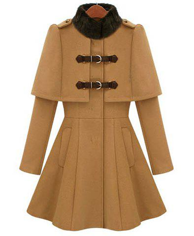 Outfits Ladylike All-Match Solid Color Stand Collar Faux Cappa Waisted Buckle Long Sleeves Coat For Women