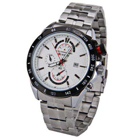 Discount Curren Quartz Watch with Strips Indicate Steel Watchband for Men
