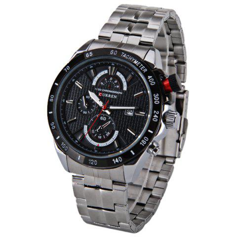 Fashion Curren Quartz Watch with Strips Indicate Steel Watchband for Men