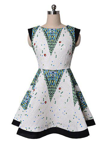 Chic Vintage Round Collar Tribal Print Floucing Sleeveless Women's Dress