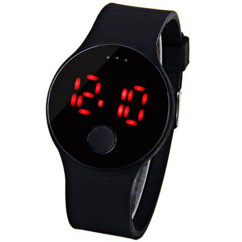 Latest Waterproof Rubber Band Red LED Watch with Number Hour Marks Round Shaped