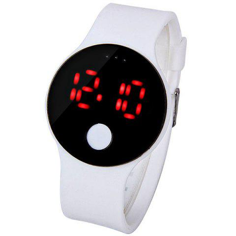 Sale Waterproof Rubber Band Red LED Watch with Number Hour Marks Round Shaped WHITE