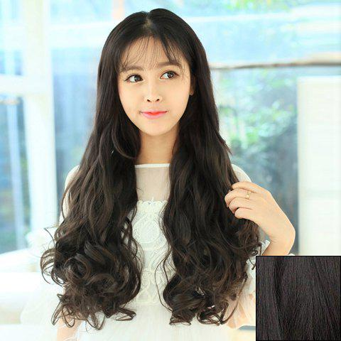 Shops Casual Style Long Wavy High Temperature Fiber Women's Clip-In Hair Extension BLACK BROWN