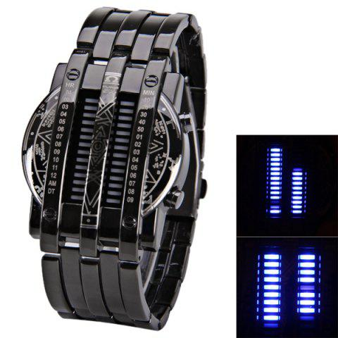Steel Band LED Screen Watches with Blue Light Display Round Shaped - GRAY