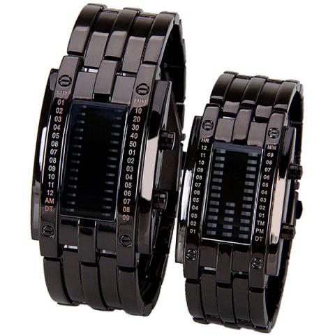 Outfit Valentine Waterproof Watch with Blue Light Time-Date Indicate Steel Watchband for Couple BLACK