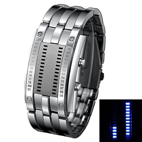 Fashion Waterproof Watch with Blue Light Time-Date Indicate Steel Watchband for Men SILVER