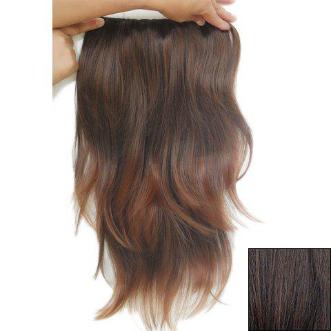Latest Casual Style Long Slightly Curled Clip-In High Temperature Fiber Women's Hair Extension - DEEP BROWN  Mobile