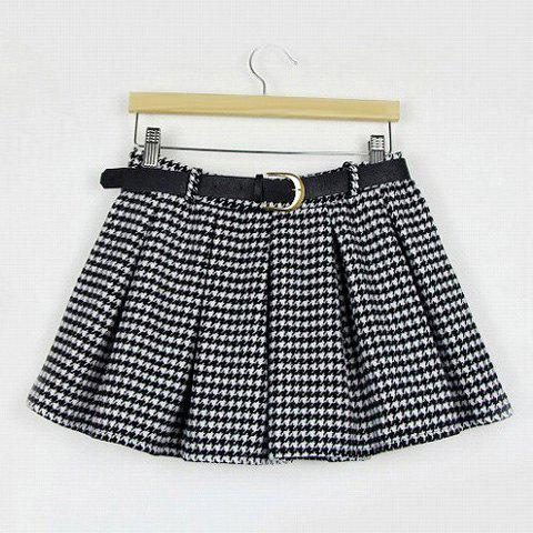 Outfits Vintage Ruffled Elastic Waist Women's Women's Houndstooth Skirt With A Belt