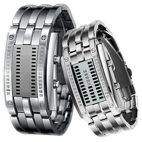 Buy Valentine Waterproof Watch with Blue Light Time-Date Indicate Steel Watchband for Couple