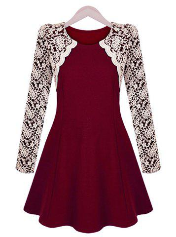 Latest Sophisticated Round Collar Color Block Embroidery Lace Long Sleeves Pleated Dress For Women WINE RED M